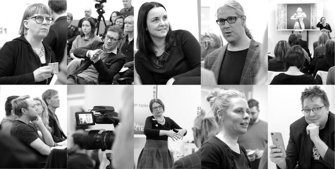 Kollage med foton från uppstartsmötet för StoryTech Arena.